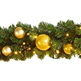Ariv Christmas Garlad 9FT 270CM with Gold Tree Balls Baubles for Xmas Door Window Wall Fireplace Home Holiday Decoration Ornaments Kerris S427GLD