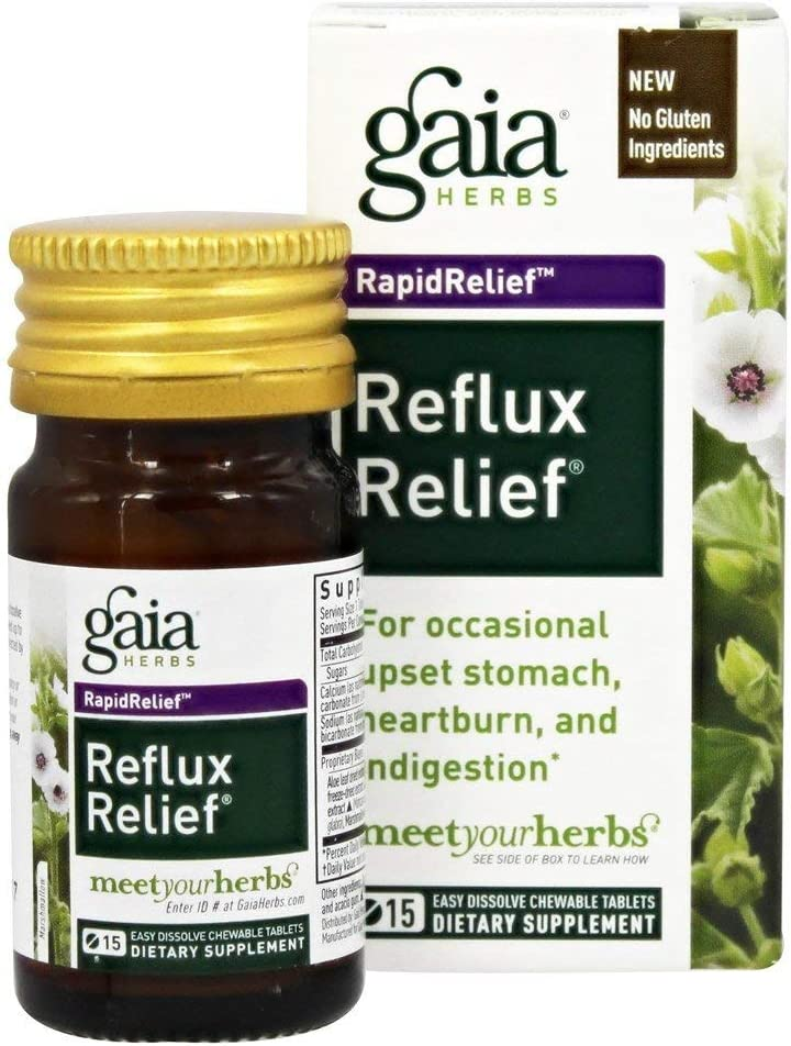 Gaia Herbs, Reflux Relief Chewy Tablets, 15 Count: Health & Personal Care