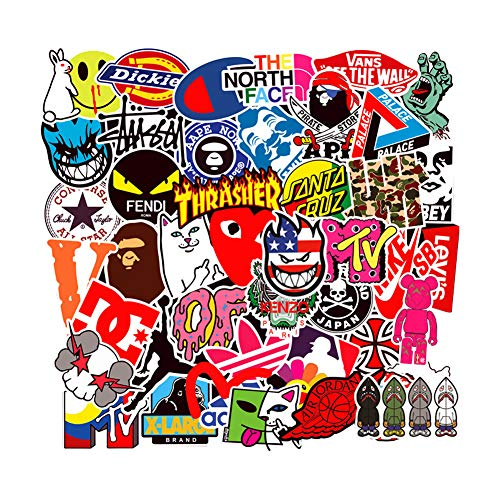 Cool Fashion Brand Logo Vinyl Stickers Waterproof for Skateboard Laptop Water Bottle Stickers Motorcycle Bicycle Luggage Computer Helmet Decal Graffiti Patches Stickers for kids Teens boys 100PCS Pack