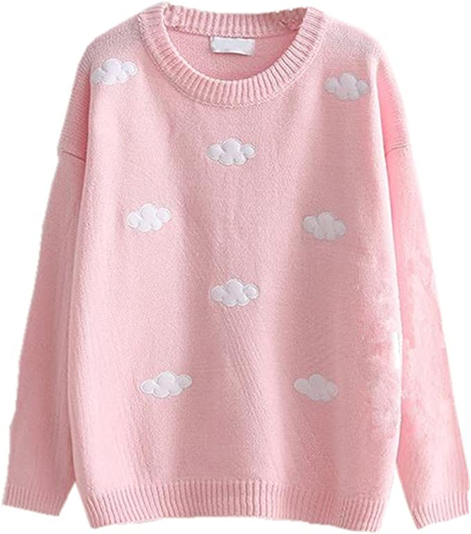 Pink Kawaii Clouds Sweater