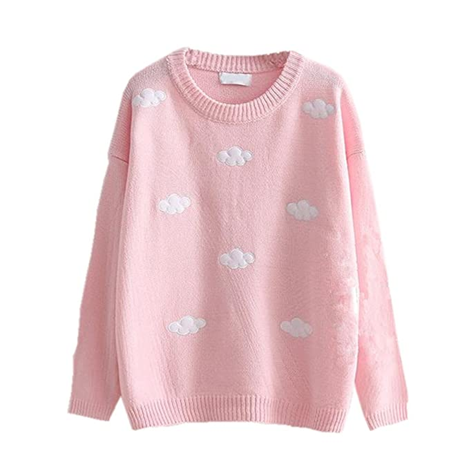 Packitcute Loose Knitted Sweaters Women Cute Cloud Sweater Pullover