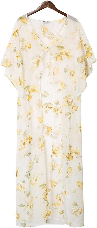 Kate Kasin Women Bikini Beach Cover Ups Cardigan Self-Tie Floral Print Irregular Sleeves Kimono at Amazon Women's Clothing store