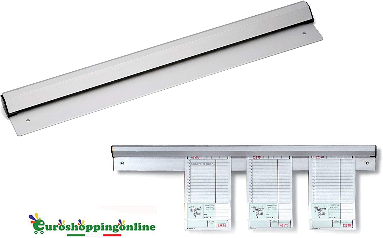 Euroshoppingonline Barra Slitta Carrello Asta Profilo in Alluminio Porta comanda comande Porta Fogli a Parete ordinatore Note Liste Ristorante Pub Pizzeria 30 Cm