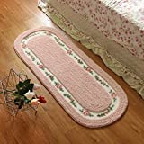 Floral Rug Sytian 45*125cm Floral & Rural Rug Beautiful & Romantic Rose Flower Rug Shaggy Area Rug Soft Doormat Floor Mat Bedroom Carpet / Non Slip Absorbent Bath Mat Bath Rug Bathroom Shower Rug Mat Carpet (Pretty Pink)