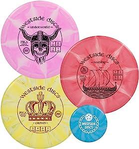 Westside Discs Origio Burst Disc Golf Starter Set| Frisbee Golf Set | King Distance Driver | Queen Distance Driver | Underworld Fairway Driver | Warship Midrange | Crown Disc Golf Putter