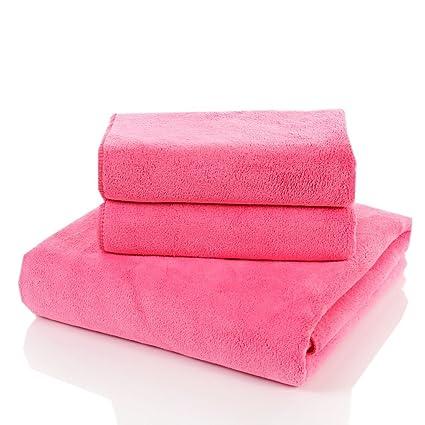 Fácil cuidado 1 toalla de baño + 2 toallas adulto suave Plain engrosamiento de absorción de