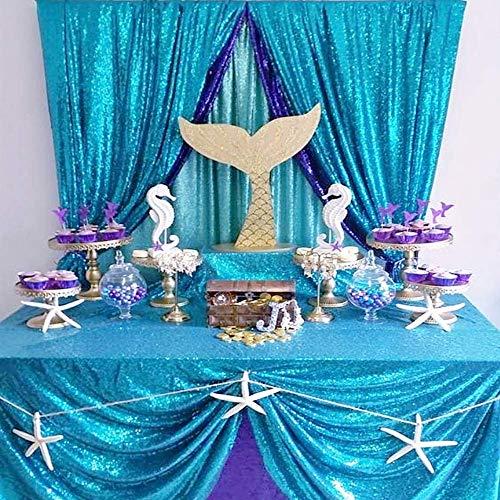 (QueenDream Aqua Blue sequin tablecloth 50