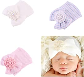 dc7ed6f9975 Ever Fairy 3 Pcs Newborn Hospital Hat Infant Baby Hat Cap with Big Bow Soft  Cute