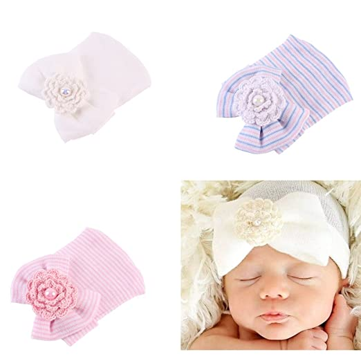 585092b9c42 Image Unavailable. Image not available for. Color  Ever Fairy 3 Pcs Newborn  Hospital Hat Infant Baby Hat Cap with Big Bow Soft Cute