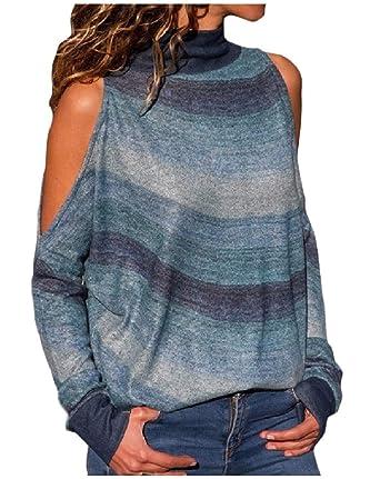 203a669fd05 Vinyst Women Turtleneck Cold Shoulder Long Sleeve Wave Stripes Knitting  Shirt Green M