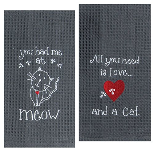 Kay Dee Designs Cat Lover Embroidered Towel Set – One Each You Had Me at Meow & Cat Love 61Q3yobTysL