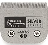 Master Grooming Tools Silver Series Steel Blades - Detachable Blades for A5-Style Dog-Grooming Clippers - #40, 1/100