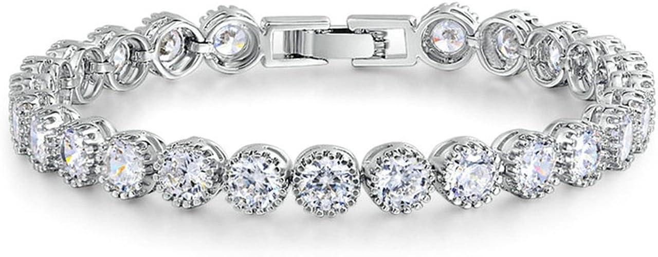 KnSam Bracelets with Charms White Gold Plated Women Tennis Bracelet White AAA Cubic Zirconia Heart Shape Charm Bangle
