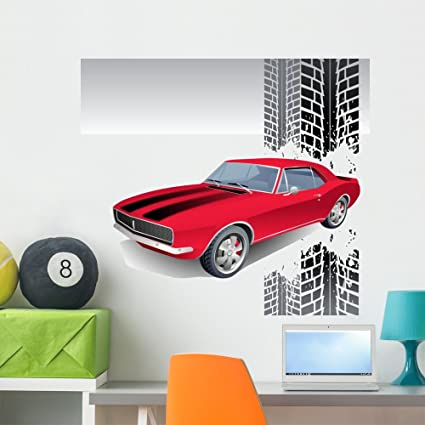 Wallmonkeys Old American Muscle Car Vector Background Wall Decal Peel And Stick Graphic Wm48092 36 In W X 32 In H
