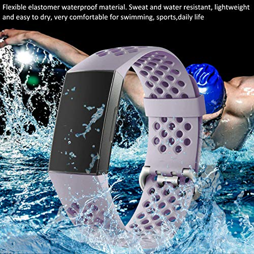 Wepro Bands Compatible with Fitbit Charge 4 / Charge 3 / Charge 3 SE, Waterproof Band with Breathable Holes for Women…