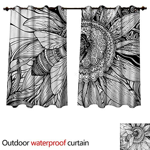 Nature Outdoor Curtains for Patio Sheer Bee on a Flower Honey Pollen Floral Mother Earth Phase Wildlife Digital Print W55 x L72(140cm x 183cm)