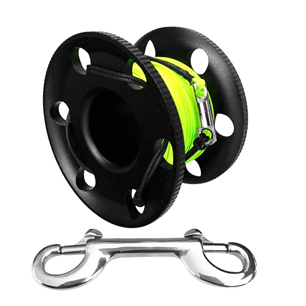 Snorkeling 30m Finger Spool Cave Reel Safety Whistle for Underwater Scuba Diving Spearfishing MagiDeal High Visible 4ft Dive SMB Surface Marker Buoy