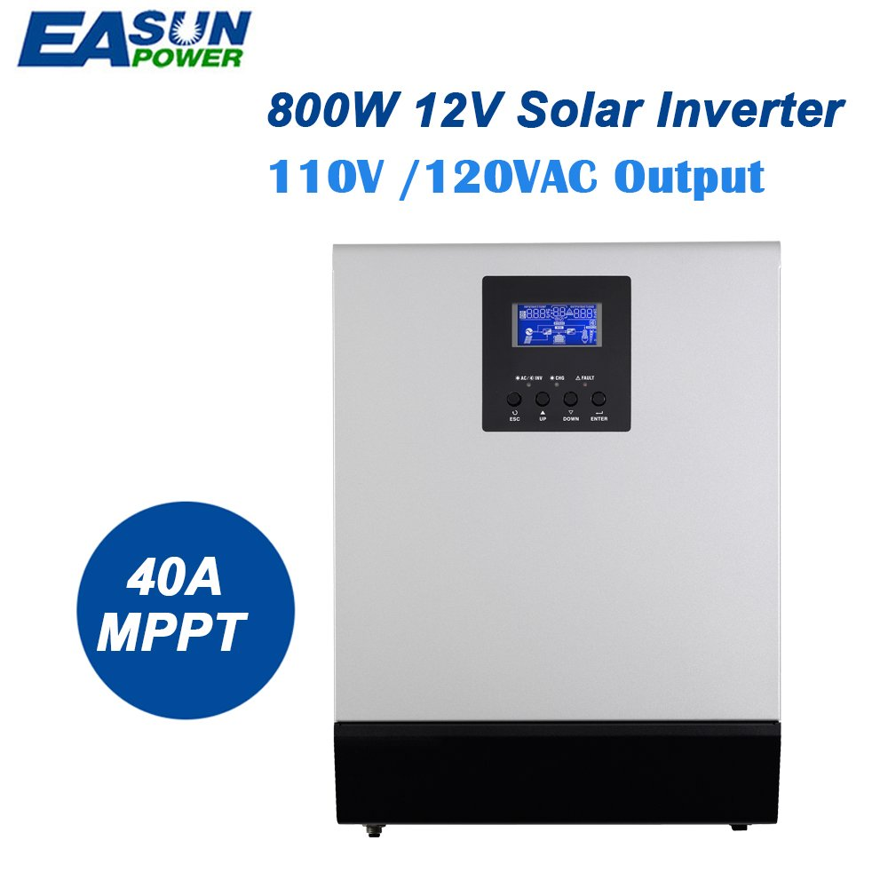 Easun Power 12v Solar Inverter 800w Mppt 1kva Pure Sine Make This 1000 Watts Wave Circuit Homemade 40a Off Grid 110v Hybrid 20a Ac Mlv 1k Garden
