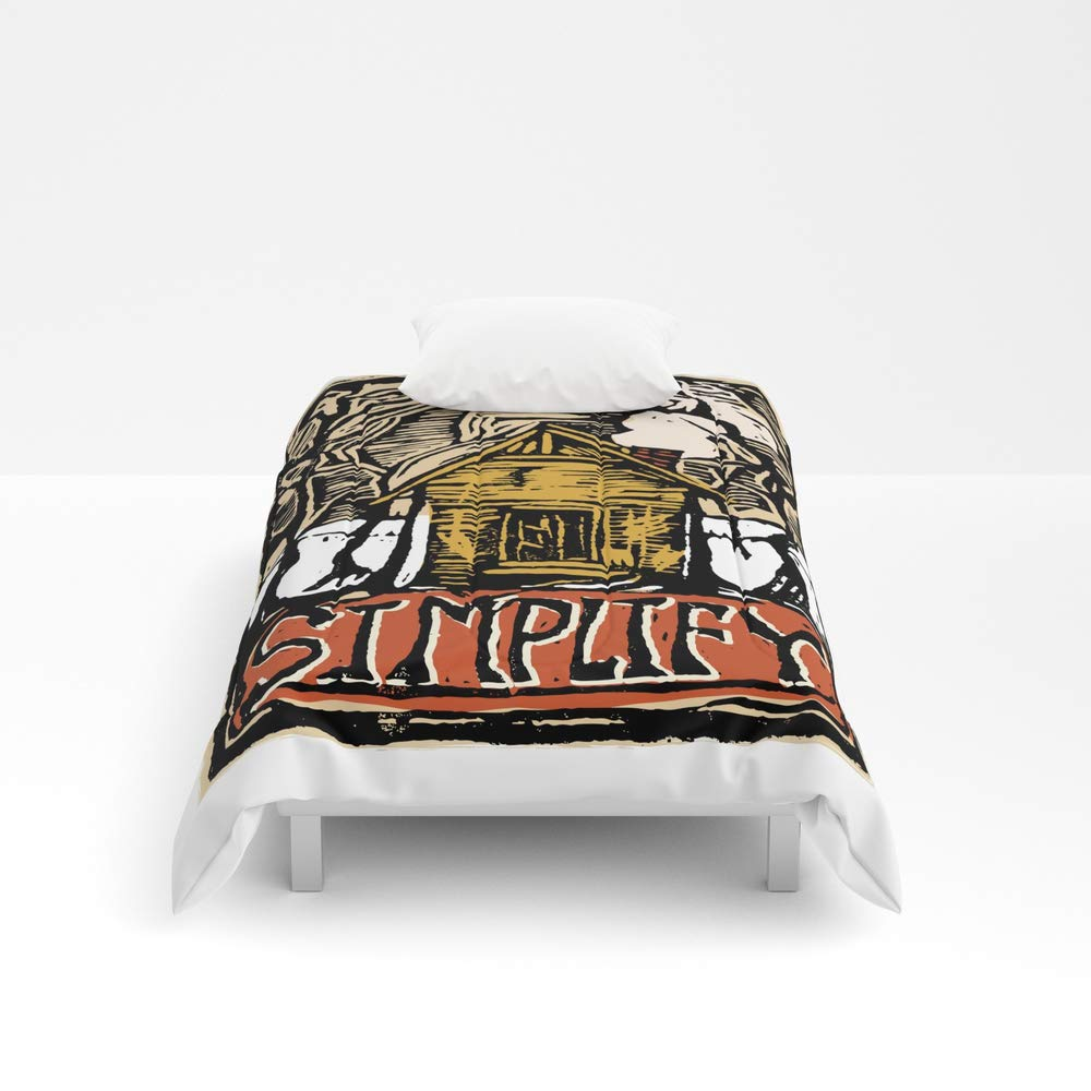 Society6 Comforter, Size Twin XL: 68'' x 92'', Simplify Cabin Woods Linocut by losthouse