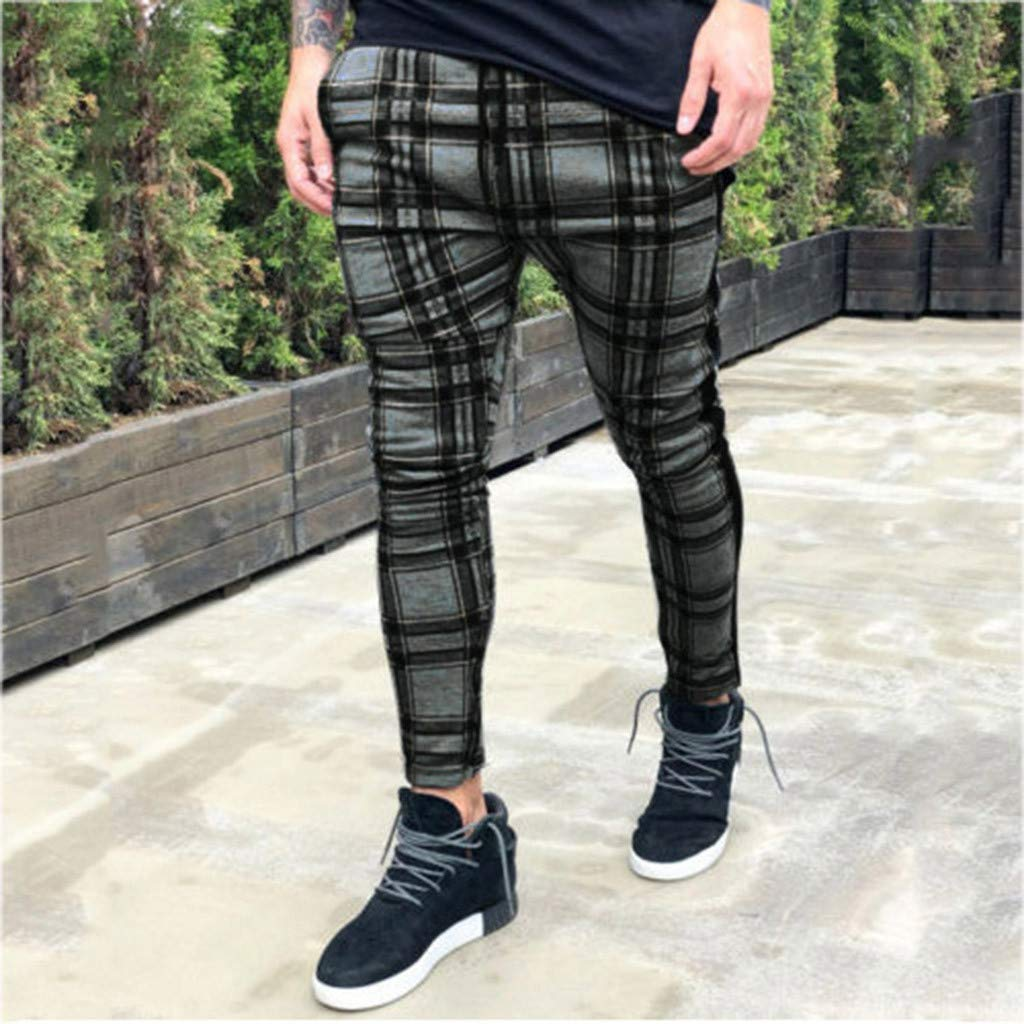 Size:M, Green AutumnFall 2019 Men Sportswear Pants Casual Elastic Plaid Mens Fitness Workout Pants Skinny Sweatpants Trousers Jogger Pants