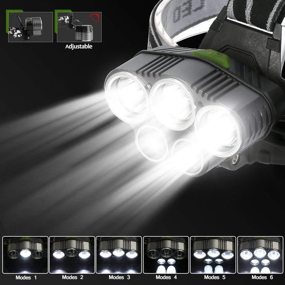 Model 2 Cave,Le VTT P/êche Torches frontales LED pour l/'Escalade Exploitation de Mine 6 Modes d/'Eclairage Lampe Frontale Puissante Lampe Torche LED Rechargeable avec 5 LED XM-L T6 Camping