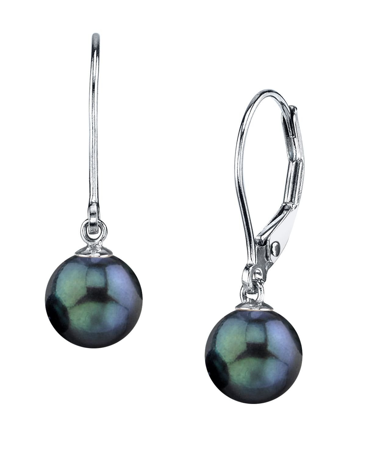 14K Gold Round Black Akoya High Luster Cultured Pearl Leverback Earrings - AAA Quality