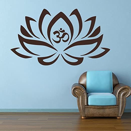 Lotus Flower With Om Sign Yoga Wall Decals Vinyl Mandala Flower Home Decor Art Vinyl Sticker Brown,xs