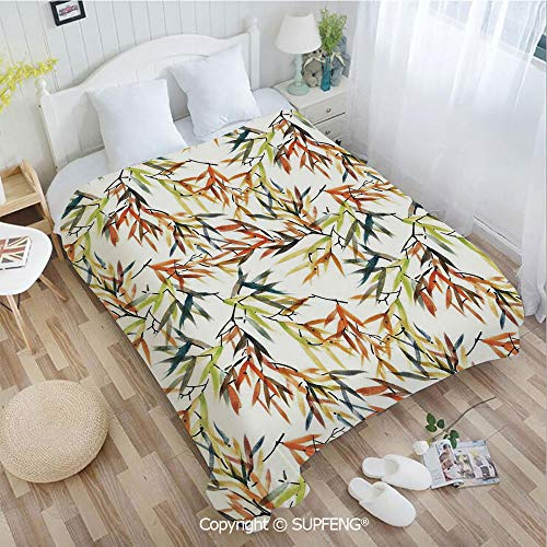 Camping Blanket Ethnic Bamboos Brush Paint with East Chinese Folk Art Style Boho Decor(W31.5xL47.3 inch ) Easy Care Machine Wash for Bedroom/Living Room/Camping etc