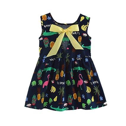 2540ce96793e3 可愛い Yochyan 子供 キッズドレス 女の子 キュート ワンピース ベビー服 子供服 ドレス カートゥーン プリント ノースリーブ ファッション