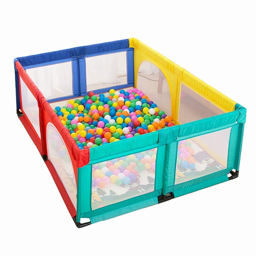 ベビーサークルプレイヤード 大型キッズプレイヤードマット&100ボール、8パネルベビーベビーサークル屋内屋外アンチフォールプレイペン、150×190×70 cm (色 : Multi-color)  Multi-color B07Q6S9ZWD