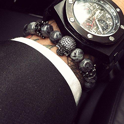 paweena Charm Men CZ Skull Crown India Labradorite Stone Beads Bracelet Handmade Jewelry