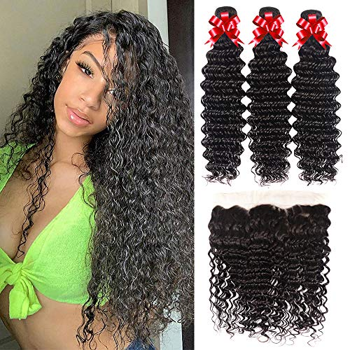 Brazilian Virgin Hair Deep Wave 3 Bundles with Lace Frontal Unprocessed Virgin Human Hair Ear to Ear Lace Frontal with Bundles Natural Color Human Hair Extensions (22 24 26+20)