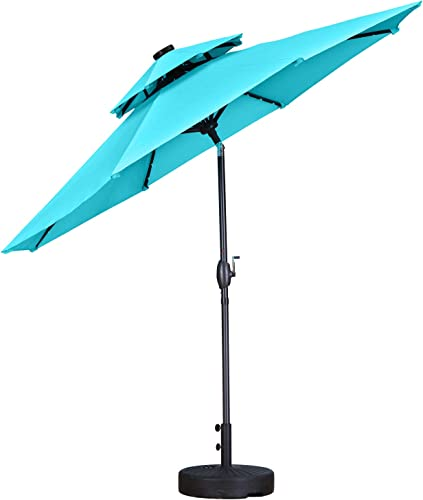 Wonlink 9ft Patio Umbrella,Double Top Outdoor Patio Market Umbrella with Crank Lift,32 Solar LED Lights