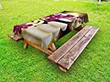 Lunarable Spa Outdoor Tablecloth, Refreshing Spa Day with Stones Herbal Salts and The Exotic Flowers Print, Decorative Washable Picnic Table Cloth, 58 X 104 inches, Purple White and Green