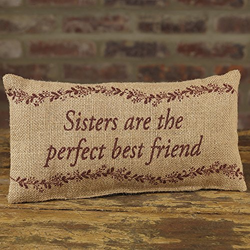 Pillow Sister Throw (Sisters Perfect Best Friend 6 x 12 Burlap Decorative Throw Pillow)