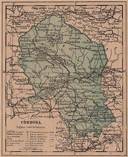 Córdoba. Cordoba. Andalucía. Mapa Antiguo de la Provincia – 1908 – Old Antiguo Mapa Vintage – Mapas de Impreso de España: Amazon.es: Hogar