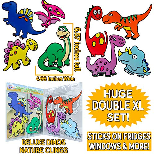 Fun Reusable Window - Deluxe Dinosaurs Flexible Gel Clings – Double XL Set 2 Full Sheets Reusable Window Clings for Kids - Incredible Gel Decals of a Jurassic World, T-Rex, Raptor, Brontosaurus, Tyrannosaurus, Stegosaurus