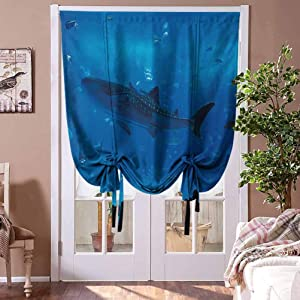 """Window Curtains Shark Tie Up Window Valance Japanese Aquarium Park with People Silhouettes Watching Underwater Life Hobby Image for Nursery/Bedroom Blue Black Rod Pocket Panel, 42"""" W x 63"""" L"""