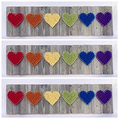 Rainbow reclaimed wooden string art hearts wall sign. A unique Wedding, Anniversary, Birthday, Valentine's Day, Gay Pride, Christmas, new baby and house warming gift.