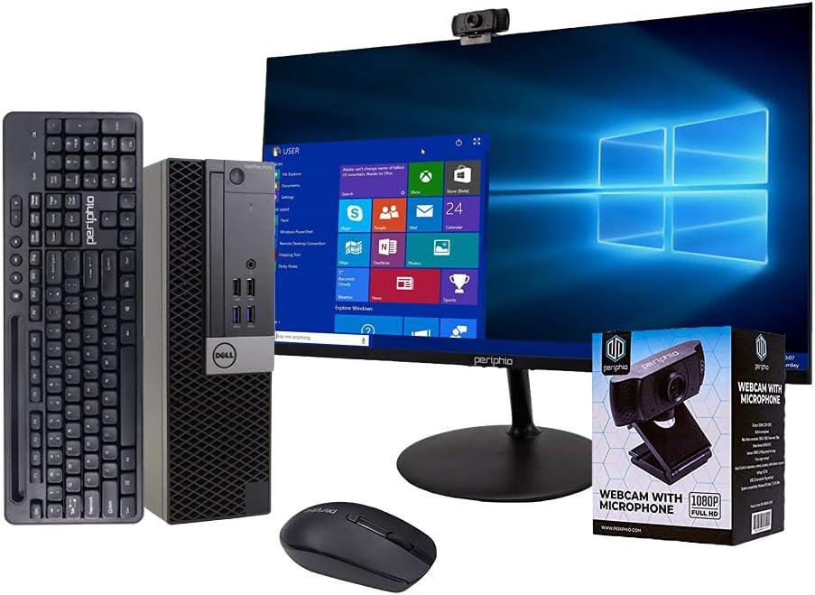 DellBusiness DesktopOptiplex 7040 Computer, Intel Core i7 Quad Core, 16GB RAM, 500GB SSD, DVD, Wi-Fi, Windows 10 Pro, Periphio Wireless Keyboard, Periphio 1080p Webcam, New 23.6