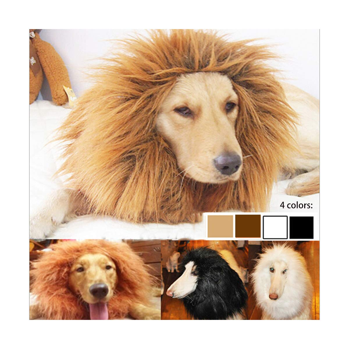 Qiao Niuniu Lion Mane for Dog Costume Lion Wig Large Pet Festival Party Fancy Hair Dog Clothes with Ears-Color Black xuanyun