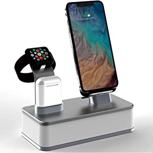 Wireless Charging Dock, VMEI 7 in 1 Aluminum Wireless Charging Station for iPhone/iWatch/Airpods Charging Cradle/Integrated 45w PD Output/Nightlight(Gray)
