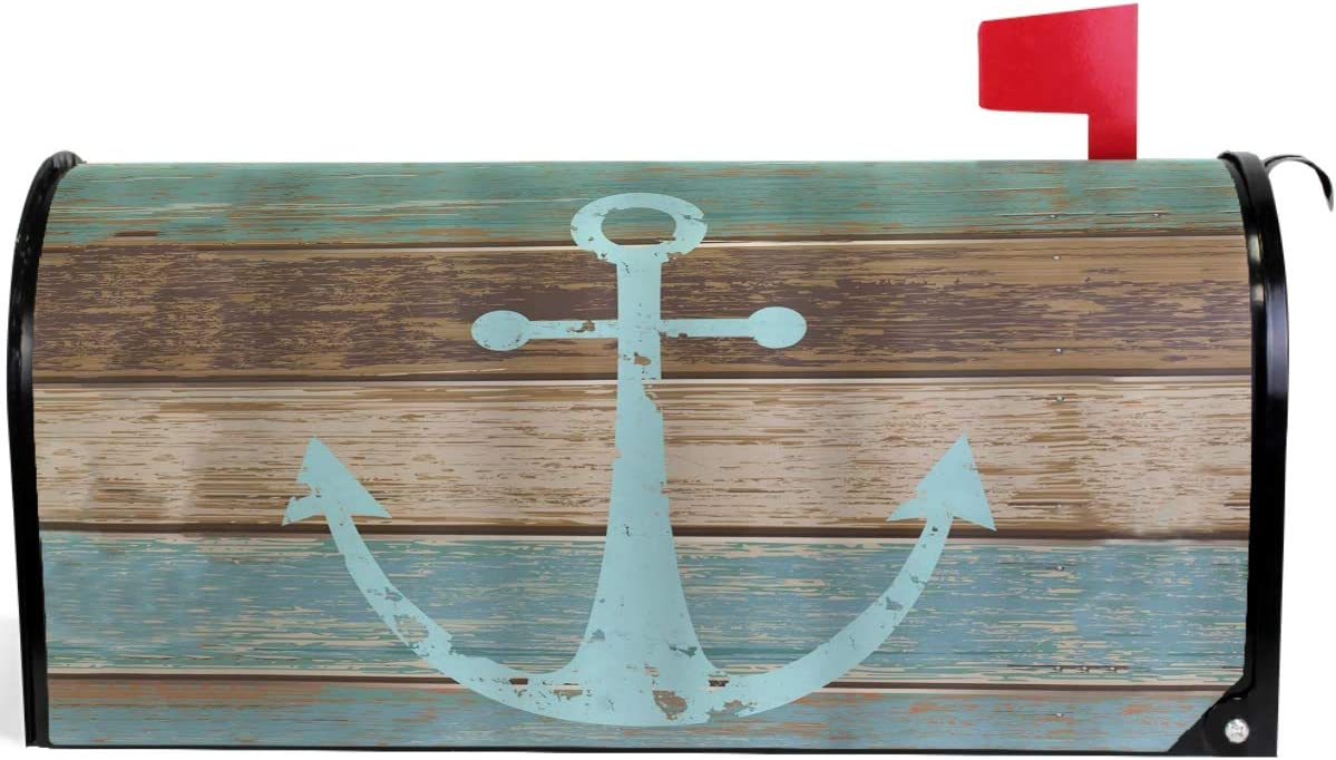 "Pfrewn Vintage Anchor Wooden Rustic Country Mailbox Cover Magnetic Standard Size Wooden Nautical Theme Mailbox Covers Letter Post Box Cover Wrap Decoration Welcome Home Garden Outdoor 21"" Lx 18"" W"
