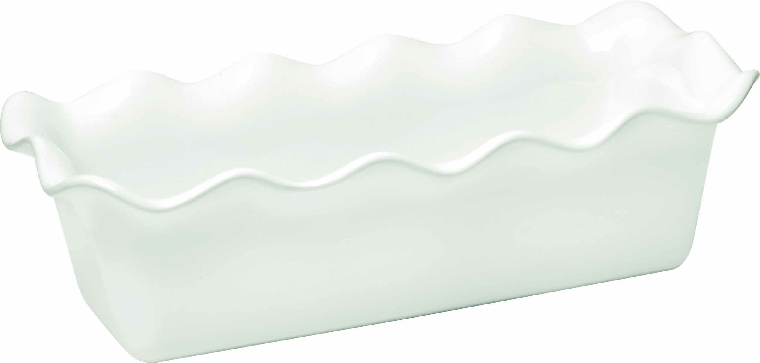 Emile Henry Made In France Ruffled Loaf Pan, 12.5'' by 6'' by 4'', Flour White