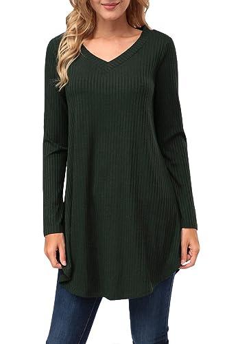 Kranda Womens Tunic Sweater, V Neck Long Sleeve Knit A-Line Sweater Dress …