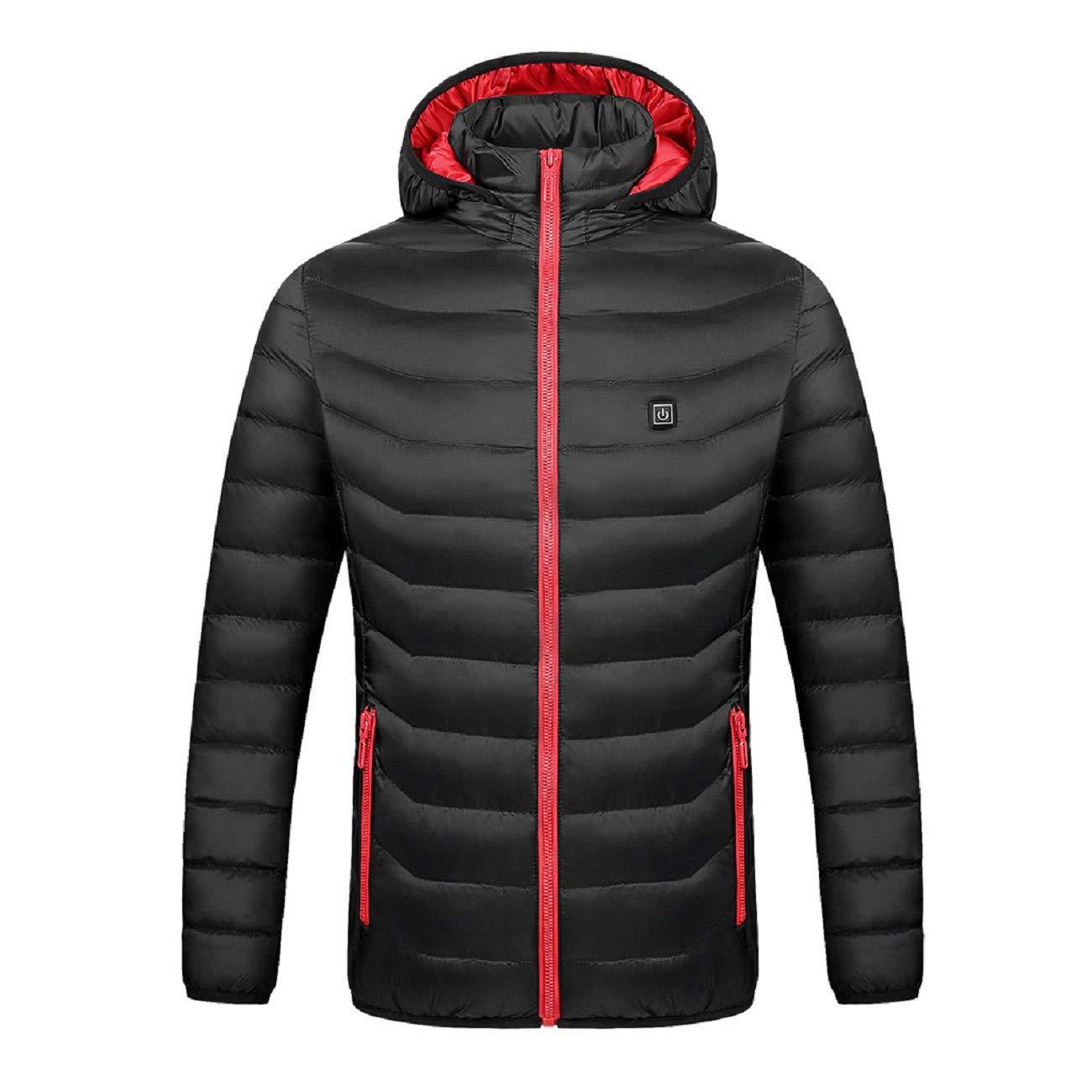 Reokoou Winer Warm Down Jacket Women Smart USB Abdominal Back Electric Heating Coat Long Sleeve Hoodie Cotton Outwear Black by Reokoou