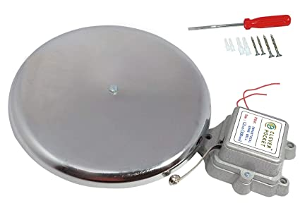 CLEVER POCKET Electric Industrial Gong Bell (12 Inch, 300 mm, Steel and Grey)