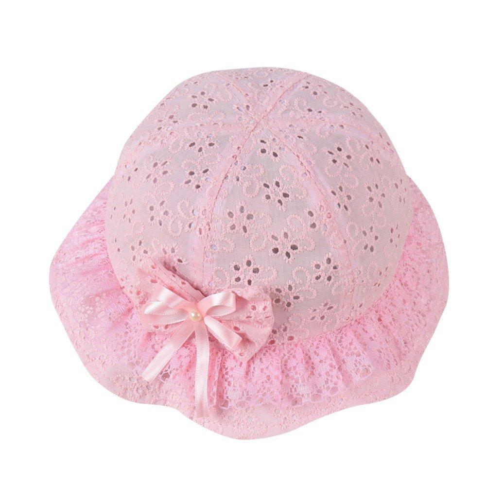 ❤️ Mealeaf ❤️ Girls Mesh Baby Embroidered Beach Cap Bow Flower Cute Summer Bucket Hat Cap(Pink,)