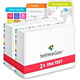 Pack DNA Duo tellmeGen: 2 Kits for Ancestry DNA Test Kit + Health Study + Personal Traits + Wellness - Genetic Testing for Pa
