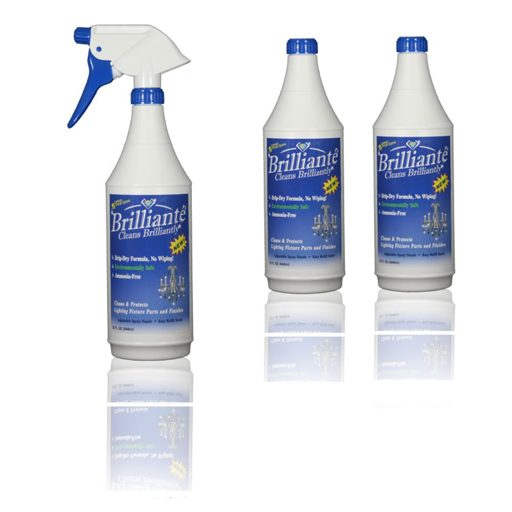 Brilliante Crystal Chandelier Cleaner - Manual Sprayer 32oz Environmentally Safe, Ammonia-Free, Drip-Dry Formula, Made in USA (3 Pack)